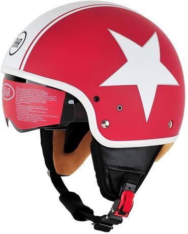 Каска BHR Demi Jet Pure 802 червено-бяла звезда размер M