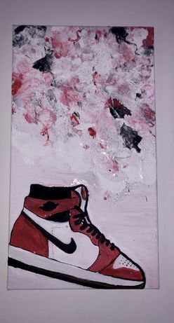Tablou unicat cu jordan 1 mid red & black cu sclipici abstract