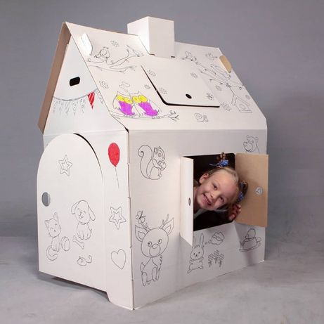 Картонный домик раскраска для детей Алфавит