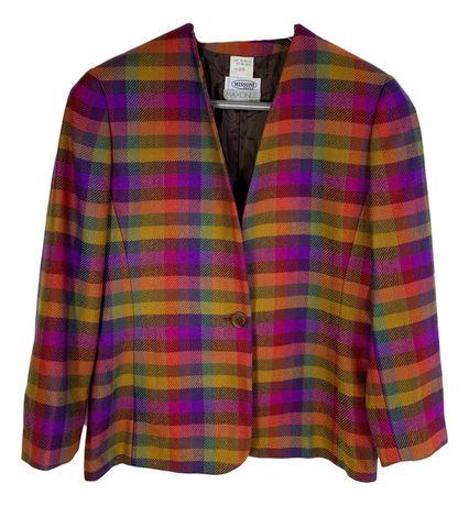 Sacou dama blazer Missoni vintage marime L carouri multicolor xy22