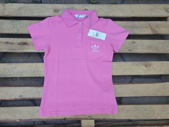 Adidas Originals Logo Pink Polo дамска тениска с яка размер 38 (XS)