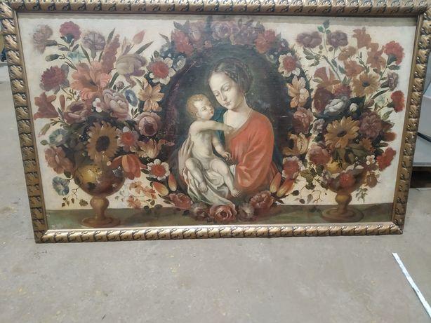 Vind Tablou vechi pictat in ulei pe Lemn 145cm/90cm.