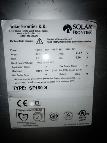 Panouri solare SOLAR FRONTIER