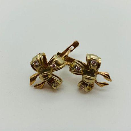 Серьги с бриллиантами , золото 585 (14K), вес 5.91 г. «Ломбард Белый»