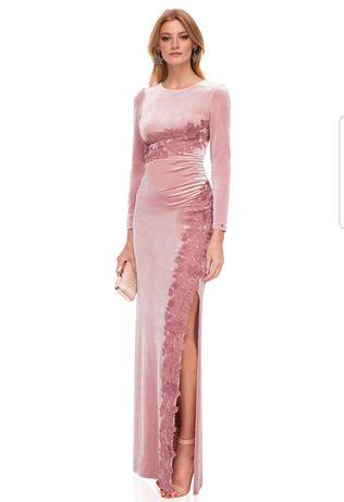 Rochie Nissa catifea nude roz