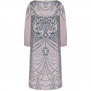 Платье 52р из атласа с принтом и стразами
