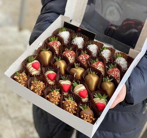 Букет из клубники/клубника в шоколаде/подарки/цветы/десерт/сыйлык