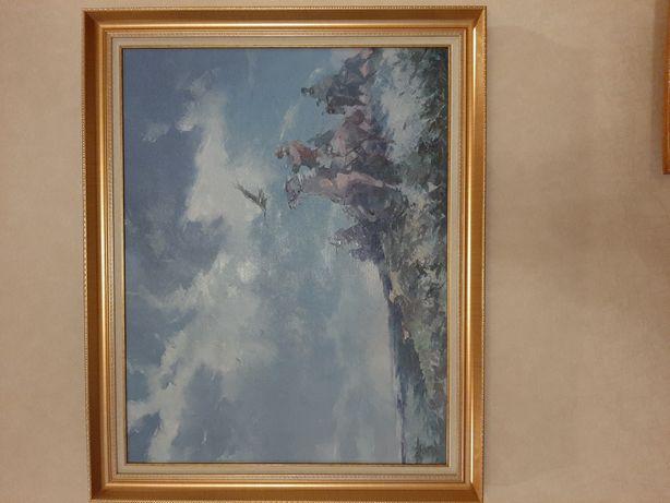 Картина на Охоте маслом 90×70см с рамкой
