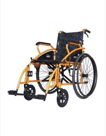 Scaun cu rotile din otel, pliabil Maidesite 117-X portocaliu/negru