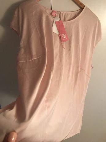 Сатенена блуза Bassler оригинал цвят пудра / nudes XXL