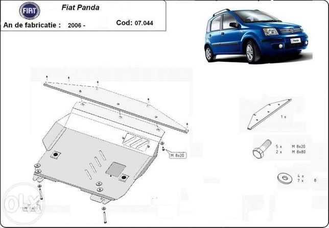 Scut metalic pentru motor Fiat Panda 2006-2012 - otel 2mm
