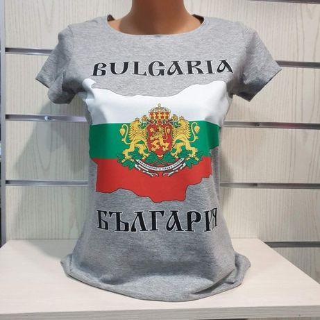 Уникална дамска тениска с щампа, с карта и герб на българия