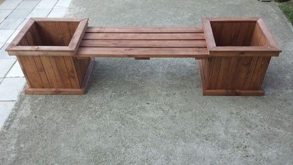 дървена градинска кашпа