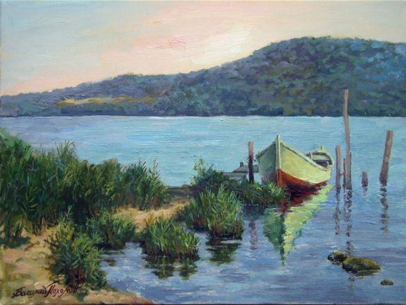 Морски пейзаж. Рибарска лодка. Картина - маслени бои