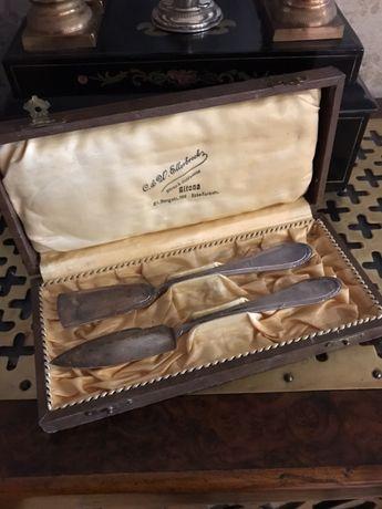 1602at Set tacamuri Art Nouveau argintate WMF pentru unt și branza.
