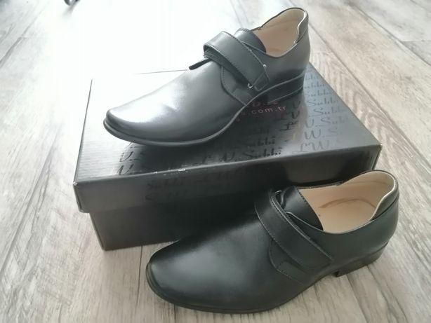Туфли подростковые для мальчика, кожаные, черные, новые, раз.34