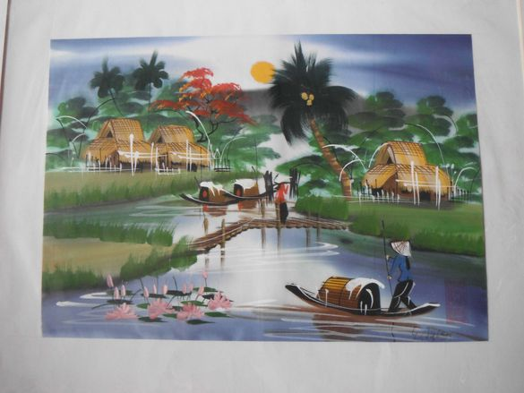 Картина - ръчно рисуван текстил, от Виетнам