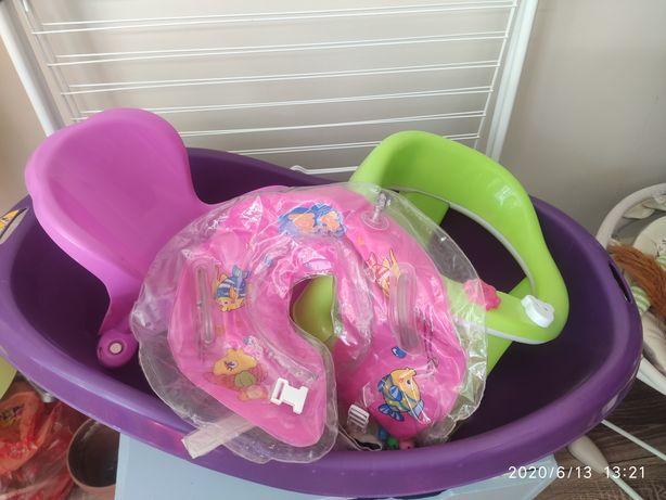 Ванночка, стул,горка, круг на шею +халат (все для купания)
