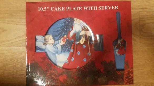 Коледна керамична чиния с лъжица за сервиране
