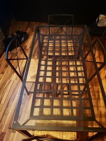 Masa cu scaune ikeea sticla și fier