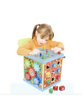 Jucarie/ Cub lemn Montessori multifunctional cu 6 laturi - 99 lei