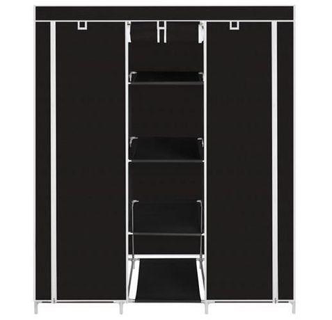 Dulap textil 8 rafturi inchidere fermoar suport umerase cadru otel
