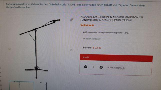 Microfon electronic cu stativ inclus