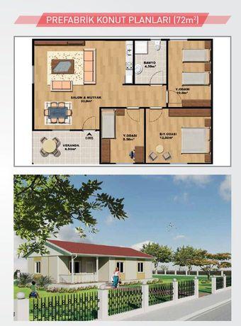 Сглобяеми къщи 72 кв.м Транспорт+Монтаж Производител от Турция