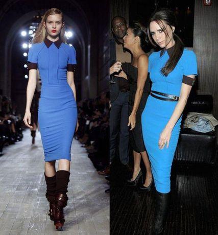 Рокля синя по модел Виктория Бекъм Чисто Нова!!!