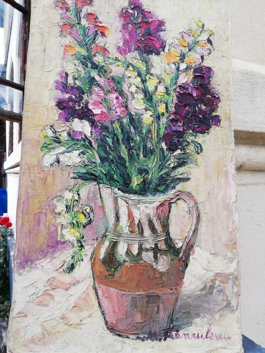 """"""" Flori de grădină """", tablou superb, Maria Frânculescu (1922-2010),u/c Bucuresti - imagine 1"""