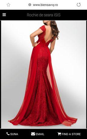 Rochie roșie de dantelă superbă 38, de seară, evenimente, de bal,