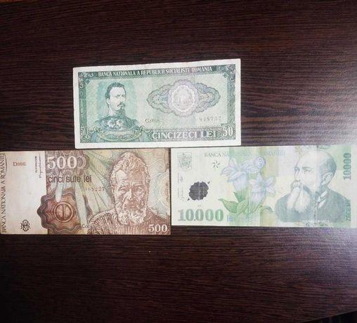 Bancnote 50 lei 1966 RSR; 500 lei 1991(ian.); 10.000 lei 2000