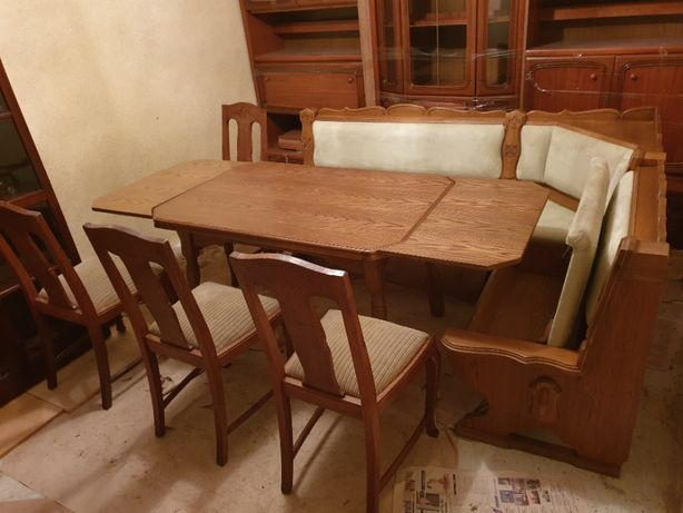set coltar masa extensibila 4 scaune lemn masiv germania