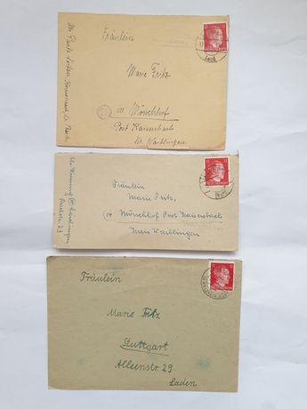 Lot 3 Plicuri,1944 Germania timbru Hitler,plus 2 carti postale 1940