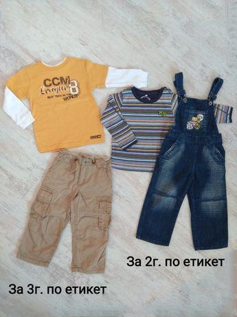 Детски лот от блузки, панталон и дънков гащеризон за 2/3 г.