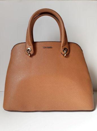 дамска кожена чанта MANGO - светло кафяв цвят