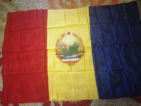 Steag, drapel matase original, RSR, PCR, Ceausescu, comunism, colectie