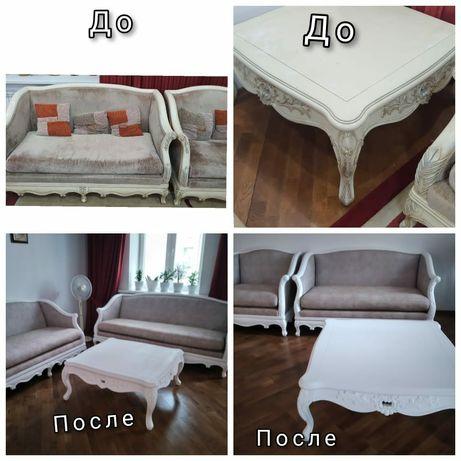 Перетяжка,ремонт мягкой и корпусной мебельи