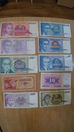Лот Банкноти Югославия от 10 броя (без повтарящи)