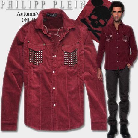 PHILIPP PLEIN Red Studded Mouse Skull Мъжка Плюшена Риза size S / M