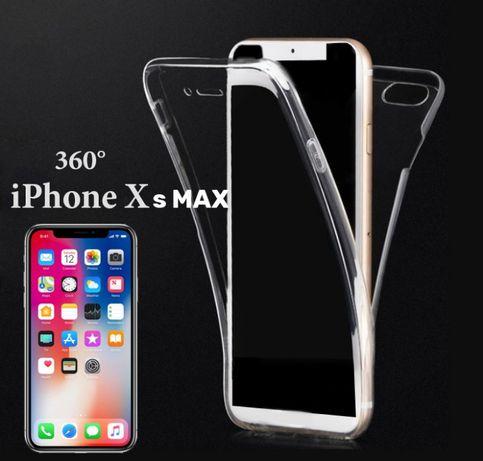Прозрачен силиконов кейс 360 градусов за iPhone Xs MAX и Самсунг А50