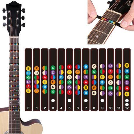 Цветные наклейки на гриф гитары для обозначения ладов
