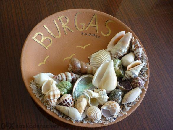 Керамична чиния сувенир от Бургас България