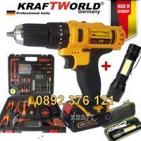 Ударен винтоверт + ПОДАРЪК USB Фенер / Бормашина Kraft World 28V, 5.0