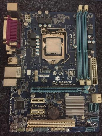 Продам материнскую плату Gigabyte B75 с процессором Core i-3
