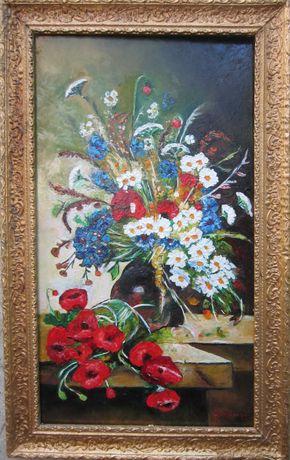 Tablou ghiveci cu flori 47x75 semnat Cimpoesu
