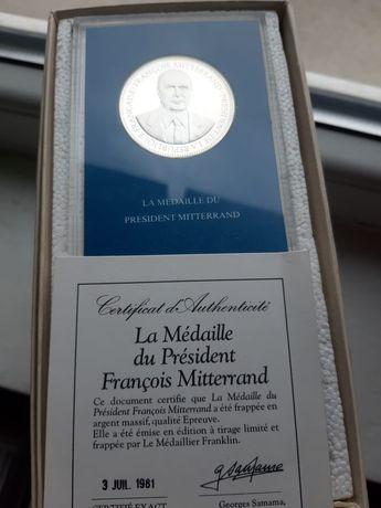 Monedă/medalie argint franceză F. MITTERRAND