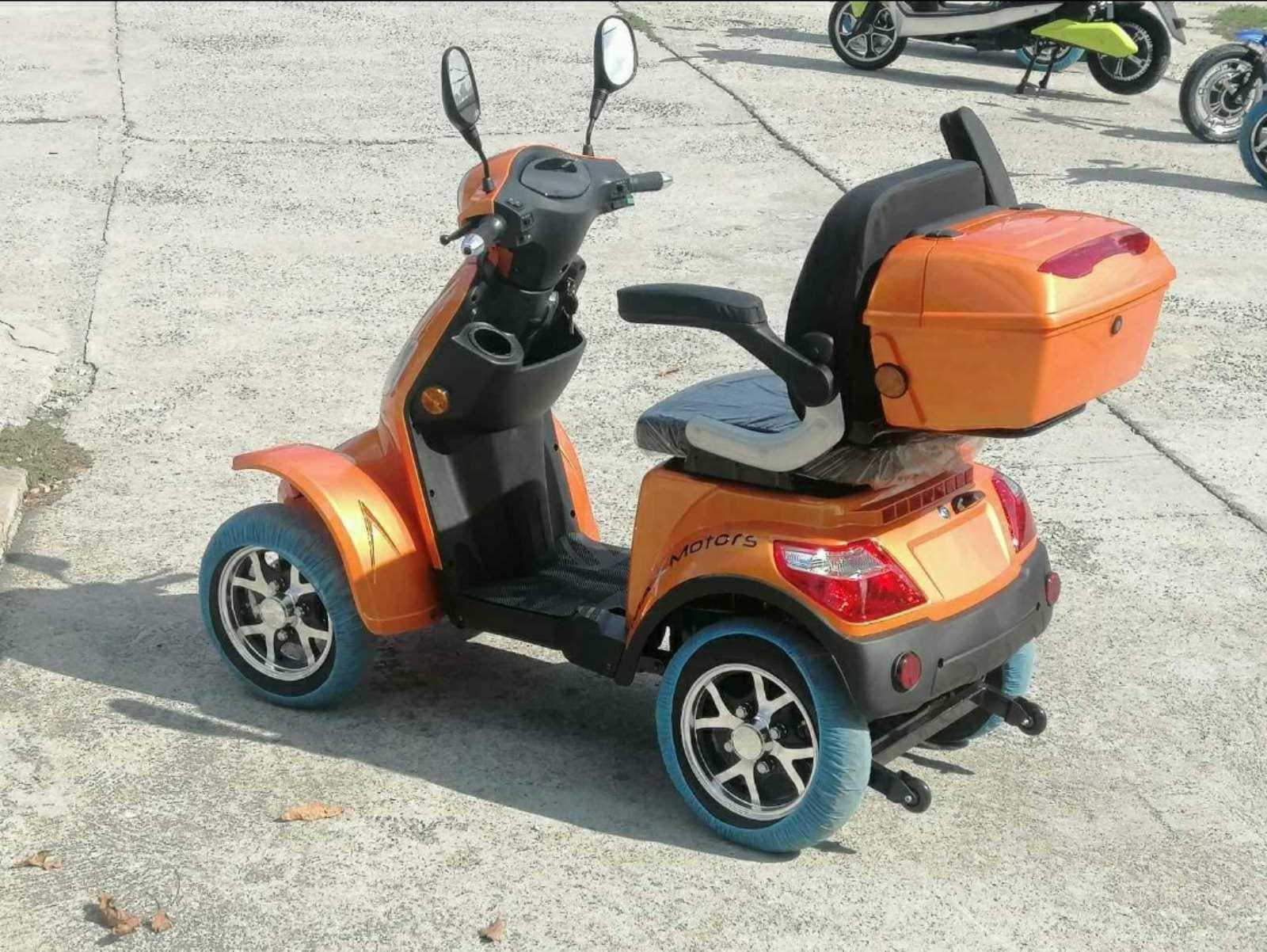 Оранжева MaXmotors Електрическа четириколка Скутер 1500w . Електрическ