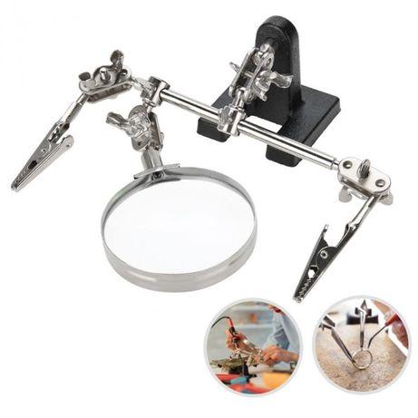 Лупа за ремонтиране 60 мм със стойка и щипки - трета помощна ръка