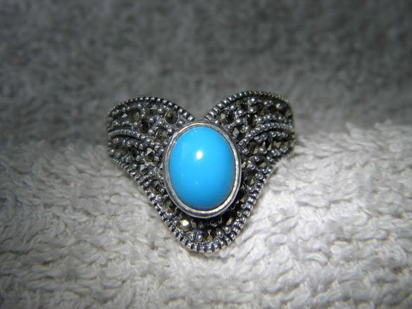 Сребърен класен пръстен с тюркоаз и марказити,единствен!